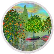 Trees On Rocks In A Lake Round Beach Towel