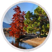 Trees On The Lake Front In Autumn Round Beach Towel