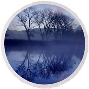Trees On The Lake Front Round Beach Towel