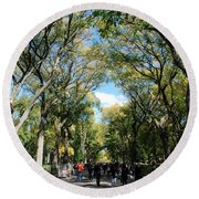 Trees On The Mall In Central Park Round Beach Towel