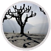 Trees With Shadows Round Beach Towel