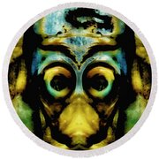 Tribal Mask Round Beach Towel