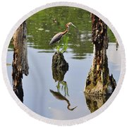Tricolored Reflection Round Beach Towel