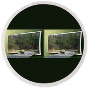 Trike Wave - Gently Cross Your Eyes And Focus On The Middle Image Round Beach Towel