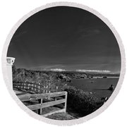 Trinidad Memorial Lighthouse In Black And White Round Beach Towel
