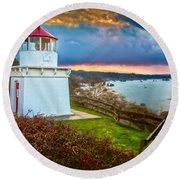 Trinidad Memorial Lighthouse Morning Round Beach Towel