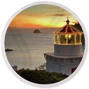 Trinidad Memorial Lighthouse Sunset Round Beach Towel