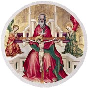 Trinity And Christ Round Beach Towel