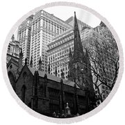 Trinity Church New York City Round Beach Towel