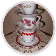Trio Of Valentine Tea Cups  Round Beach Towel
