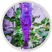 Triptych Cobalt Blue Purple And Magenta Bottles Triptych Vertical Round Beach Towel