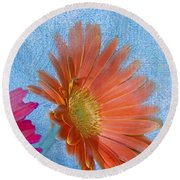Triptych Gerbera Daisies-three Round Beach Towel