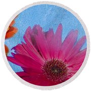 Triptych Gerbera Daisies-two Round Beach Towel