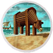 Trojan Cow Round Beach Towel by Russell Kightley