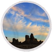 Trona Pinnacles At Sunset Round Beach Towel