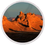 Trona Pinnacles Panorama Round Beach Towel by Bob Christopher