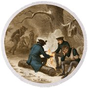 Troops At Valley Forge Round Beach Towel