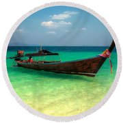 Tropical Boat Round Beach Towel