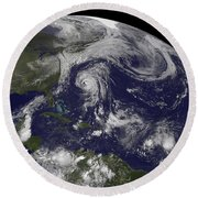 Tropical Cyclones Katia, Lee, Maria Round Beach Towel