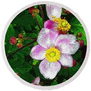 Tropical Pinks Round Beach Towel