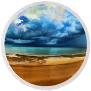 Tropical Seasonal Monsoon Rain V2 Round Beach Towel