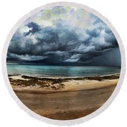 Tropical Seasonal Monsoon Rain V3 Round Beach Towel