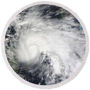 Tropical Storm Ida In The Caribbean Sea Round Beach Towel