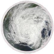 Tropical Storm Muifa Over China Round Beach Towel