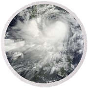 Tropical Storm Nock-ten Round Beach Towel