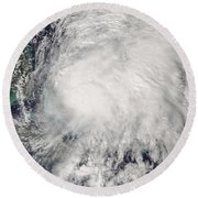 Tropical Storm Noel Over The Bahamas Round Beach Towel