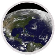 Tropical Storms On Planet Earth Round Beach Towel