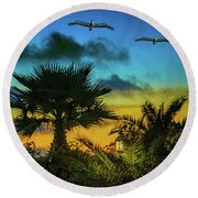 Tropical Sunset With Pelicans Round Beach Towel