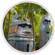 Tropical Tikis Round Beach Towel