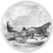 Trotting Horse, 1853 Round Beach Towel