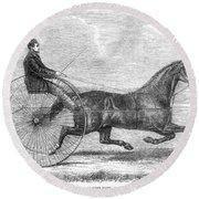 Trotting Horse, 1861 Round Beach Towel