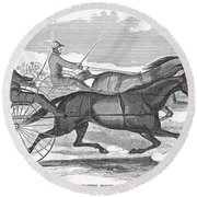 Trotting Horses, 1854 Round Beach Towel