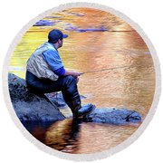 Trout Fisherman In Autumn Round Beach Towel