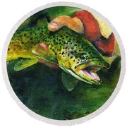Trout In Hand Round Beach Towel