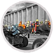 Truck And Dolls With Selective Coloring Round Beach Towel