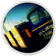 Truck On Route 66 Round Beach Towel