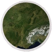 True-color Satellite View Of France Round Beach Towel