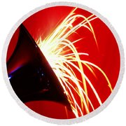 Trumpet Shooting Sparks Round Beach Towel