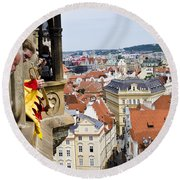 Trumpeter - Prague Old Town Square Round Beach Towel