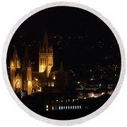 Truro Cathedral Illuminated Round Beach Towel