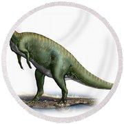 Tsintaosaurus Spinorhinus Round Beach Towel