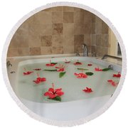 Tub Of Hibiscus Round Beach Towel