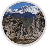 Tufa At Mono Lake California Round Beach Towel