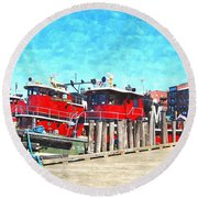 Tugboat Twc Round Beach Towel