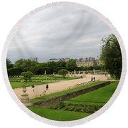 Tuileries Gardens 4 Round Beach Towel
