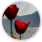 Tulip And Lake Round Beach Towel